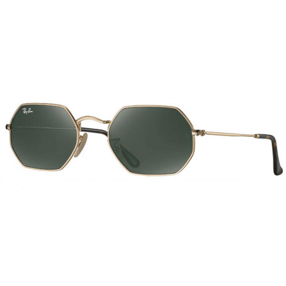 Ray-Ban-Oculos-De-Sol-Octogonais-RB-3556N-001-Ouro---Verde